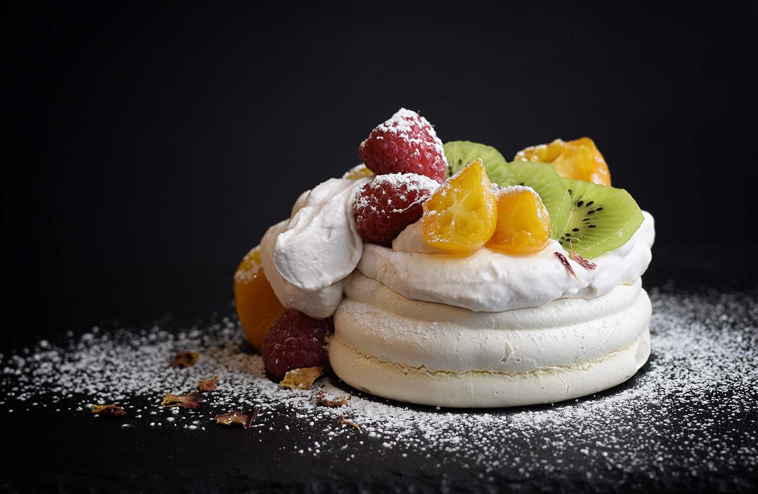 Rose Scented Pavlova With Fresh Fruit Candied Kumquats