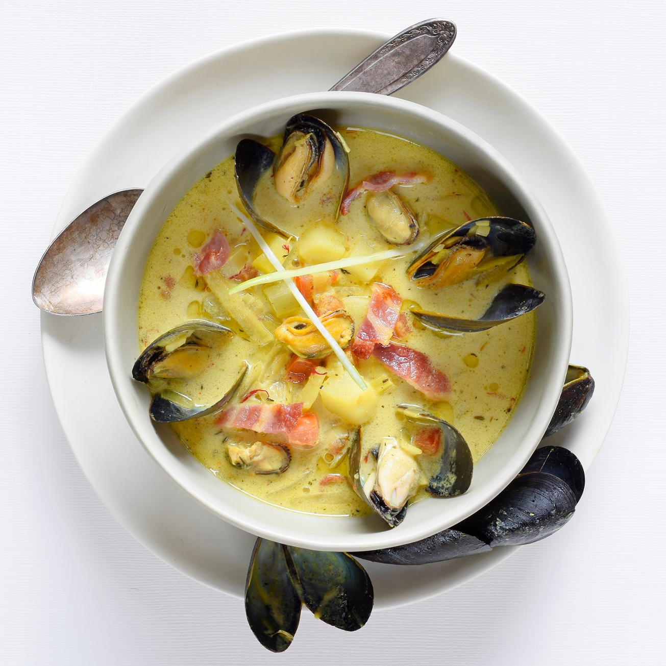 Golden Mussel Chowder with PEI Mussels and Saffron, from Malouf. |